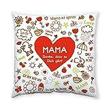 Sheepworld 42911 Baumwoll-Kissen mit Spruch Mama, Danke, Dass es Dich Gibt, Geschenk Mama, 40 cm x 40