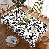CCBAO Schwarzer Streifendruck Rechteckiges Hauptwohnzimmer Küchentischdecke Polyesterquaste Tischdecke Vogeldruck Quadratische Tischdecke Couchtischdecke 90x90cm