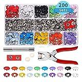 PetKids Druckknopf, 200 Stück und Zangen-Set aus Metall mit Zange, Handschlaghebel, Ersatzgummi für Basteln, alle Kleidung, Zubehör
