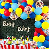 GuassLee Karneval Zirkus Ballon Bogen und Girlande Kit - 105 Pack Rot Blau Gelb Runde Latex Luftballons und Regenbogen Mehrfarbige vorgefüllte Konfetti Ballon für Karneval Hochzeit ekorationen