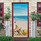 KEXIU Tür Foto Tapete wasserdicht abnehmbare selbstklebende Türaufkleber Tür Film Poster Tapete Tür Film, Innentür Schlafzimmer Küche Bad Wohnkultur ( Strandmuschel ) 77X200cm