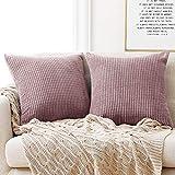 Deconovo Kissenbezug Kordsamt Zierkissenbezug Dekorativen Kissenhüllen Weiches Massiv Kissen für Sofa Couch Schlafzimmer Rosa Lila 40x40 cm 2er Set