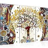 Runa Art Klimt Baum des Lebens Bild Wandbilder Wohnzimmer XXL Bunt Abstrakt Baum 120 x 80 cm 3 Teilig Wanddeko 004631a