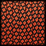 Paracord 550 Seil Diamond für Armband, Leine, Halsband, 100% Nylon-Seil 30 Meter, Farbe: rot-schwarz