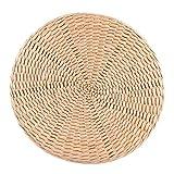 Folany Bodenkissen, Japanisches Sitzkissen Pouf Tatami Kissen Handgemachtes Stroh Rundes Tatami Sitzkissen für Haushalt
