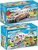 PLAYMOBIL® City Life 2er Set 70048 70050 Rettungshelikopter + Notarzt-PKW mit Licht und Sound