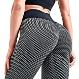 SUPBAO Frauen Gym Leggings High Waist Yoga Hose Butt-Lifting Hose Strumpfhose Honeycomb Running Hosen (Schwarz, S)