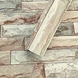 KINLO Wandtapete selbstklebend Tapete 3D Steintapete 0,6X5M Klebefolie Ziegelstein Fototapete Wandaufkleber Wandsticker Wandtattoo Verdicke 0,42mm für Bar Cafe Friseursalon | Farbiger Stein B