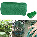 Vogelschutznetz, 10 x 2 m Gartennetz Teichnetz - Hochleistungsnetz zum Pflanzenschutz Obstbäume - Stretchzaun Pflanzennetz mit 100 Kabelbindern