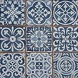 Casa Moro 1 Musterfliese Rahel Blau 33x33 cm für Wand & Boden | Mediterrane Patchwork Fliese | Vintage Bodenfliesen Retro-Fliese für schöne Küche Bad Flur & Küchenrückwand | MF0237