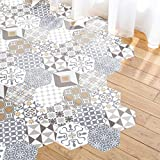 Ambiance Aufkleber Boden, Zementfliesen Azulejos mit Schutzlaminat aus Kunststoff | selbstklebende Fliesen Sechskant Boden wasserfest, 40 x 90 cm, 10 Stück