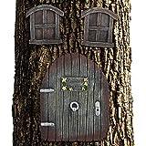 Relaxdays Feentür Garten, 3-teilig, Feenfenster, Baumstamm Deko, wetterfest, Baumdeko zum Aufhängen, Fairy Door, braun