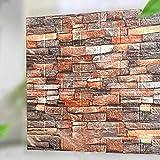 LACKINGONE Wandverkleidung Steinoptik Tapete 10 Stück 3D Wandpaneele Selbstklebender Wandaufkleber für Badezimmer, Wohnzimmer, Küche, Wanddekoration, 35 * 38cm (Rot)