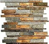 Mosaik Fliese Stein Kupfer grau rost kupfer Verbund Stein für WAND BAD WC DUSCHE KÜCHE FLIESENSPIEGEL THEKENVERKLEIDUNG BADEWANNENVERKLEIDUNG Mosaikmatte Mosaikp