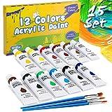 Gifort Acrylfarbe Set Bunt, 12 Verschiedene Kreativ-Mal-Farben in Tube, hoher Anteil an Farb-Pigmenten, Acrylic Paint hoch-deckend & schnell-trocknend, ideal zum Malen & Zeichnen, 12 ml/Tub