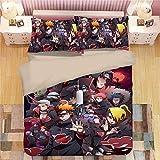 VTBDWOSE® Bettwäsche 155X220 cm Zeichentrick-Anime-Charakter Bettwäsche Set - Bettbezug Und Kissenbezug, Mikrofaser, 3D Digital Print Dreiteilige Set,Anti-Allergie Angenehm Weich Leicht Zu Reinigen