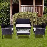 LIFE CARVER Garten Lounge Set Polyrattan Sitzgruppe für 4 Personen Balkonmöbel Set Gartenmöbel-Set, 4-teilig, 2 Sessel, Sofa & Tisch, inkl. Sitzkissen für Garten Balkon & Terrasse,Schwarz