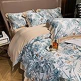Exlcellexngce Bettbezug 200x200cm,Blumen Duvet Cover Set Tencel Bettwäsche Bunte Blumen Bettlaken Gedruckt Ultra Weiche seidige 4pcs Bettbezug Bettlaken Kissen-L_2.0m Bett (4 stücke)