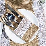 ARKSU Utensilienhalter aus Sackleinen mit Spitze für Besteck, Messer, Gabeln, Tasche für Vintage, natürliche H