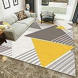 Teppich Dekoration Wohnung Weiches Schlafzimmer Kopfteil gelb grau geometrisch jugendzimmer deko Teenager Zimmer deko 180 * 250cm