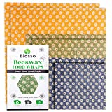 Biosso Premium Bienenwachstücher 6er Set Mehrweg Frischhaltefolie Biologisch abbaubares Wachstuch mit Bienenwachs und Baumwolle Klein mittel groß Nachhaltige Aufbewahrung für Lebensmittel
