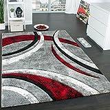 Paco Home Designer Teppich mit Konturenschnitt Muster Gestreift Grau Schwarz Rot Meliert, Grösse:60x110 cm