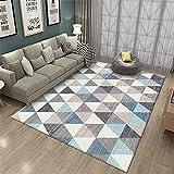 küche Teppich Graublauer Teppich geometrisches Gitter weiche und Nicht verblassende Wohnzimmerdekoration küche Teppich kinderzimmerteppich Junge 100X160CM 3ft 3.4' X5ft 3'