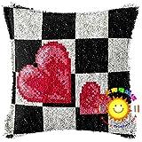 Lee My Knüpfkissen Kissenbezug 3D-Stereo-Stickerei Kissenbezug Schwarz und weiß Gitter Design Kreuzstich Sofakissenbezug für Kinder, Erwachsene oder Anfänger,Square L