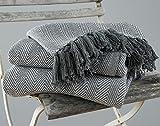 EHC Tagesdecke Fischgrätenmuster Super King 100% Baumwolle Überwurf für Sofa, Tagesdecke 250x 380cm-Grau