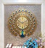 Kreative Wanduhr/Silent Quarzuhr, Hause Strass Pfau dekorative Uhr, geeignet für Wohnzimmer, Esszimmer (66 × 63cm)