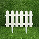 WXQIANG Garten Border Edging, 10 Stück x Kunststoff Dekorative Zäune, White Picket, ideal for Rasen Borten, 50x30cm, Weiss