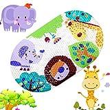 Topsky Rutschfeste Badematte für Kinder, mit Saugnäpfen, bunte Cartoon-Druck, 39 x 69 cm Colorful Zoo