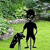 HeiHeiDa Halloween Kleiner Teufel Hof Garten Dekoration Teufel trägt einen Kürbis Metall Zeiche Aushöhlen Kontur Silhouettenkunst Gartendekoration Dekoration für Hof Rasen