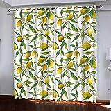MEKVF Thermovorhänge Fruchtgelbe Zitrone 140x160cm(Wxl) 2 Panels Super Soft Ring Top Verdunkelungsvorhänge Für Schlafzimmer Vorhang & Jalousie