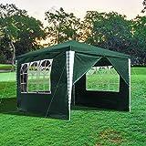wolketon 3x3m Pavillon Stabiles Partyzelt Wasserdicht und UV-Schutz Gartenpavillon Grün mit 4 Seitenteile Metall-Verstrebungen Festzelt für Garten Party Festival Messestände
