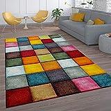 Paco Home Kurzflor Wohnzimmer Teppich Bunt Karo Design Vierecke Mehrfarbig Farbenfroh, Grösse:80x150